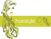 Female hairstyle. Decorative banner — Stock Vector