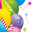 Colorful balloons and festive tinsel. Background - Stockvectorbeeld