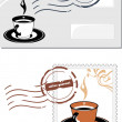Stock Vector: Envelope and post stamp with coffee cup