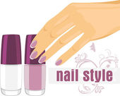 Female hand with manicure and nail polish. Banner for design — Stock Vector