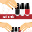 Female hands with manicure and bright nail polish - Stock Vector