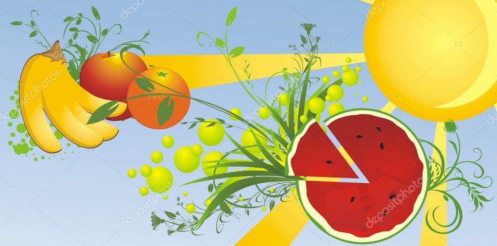 西瓜和水果.夏天背景