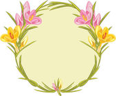Krans med rosa och gula krokusar — Stockvektor