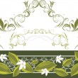 Ornamental border a with white blooming flowers - Vettoriali Stock