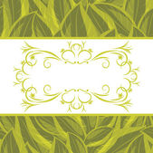 Decorative frame on the background with a green leaves — Stock Vector