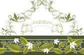 装饰性边框与盛开的鲜花,白色 — 图库矢量图片