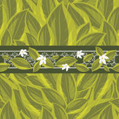 Floral border on the background with a green leaves — Stock Vector