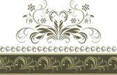 Frontera verde oscuro ornamental aislado en el blanco — Vector de stock