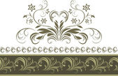 白で隔離される装飾用の暗い緑の枠線 — ストックベクタ