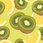 Slices ripe orange and kiwi fruit. Seamless background — Stock Vector