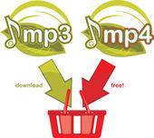 Download gratis Mp3 en mp4. pictogram voor ontwerp — Stockvector