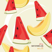 Seamless background with juicy melon and watermelon — Stock Vector