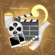 Stock Vector: Film industry objects. Golden collection