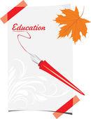 Akçaağaç yaprağı ile tüy kalem ve kağıt levha — Stok Vektör