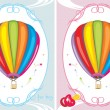 Greeting cards with air balloons for little boy and girl — Stock Vector