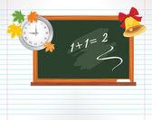 Strony notatnik z tablicy, zegarek i szkoły bell — Wektor stockowy