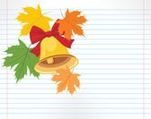 School bell and maple leaves on the notebook page — Stok Vektör