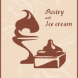 Pastry and ice cream. Label for design — 图库矢量图片