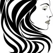 Portrait of elegant woman. Hairstyle icon — Stock Vector