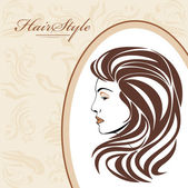 Portrait of elegant woman in ornamental frame. Hairstyle background — Stock Vector