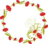 Wreath with red poppies — Stock Vector