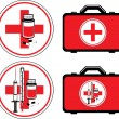 First aid kit and medical icons — Stock Vector
