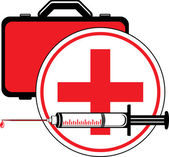 Medical syringe and first aid kit. Icon for design — Stock Vector