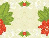 无缝装饰背景与红色浆果串 — 图库矢量图片