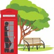 Telephone box in the park — Stock Vector