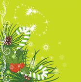 Christmas fir tree with pine cones, candy canes and holly berries bunch — Vector de stock