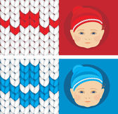 Baby knitted caps. Banner for design — Stock Vector