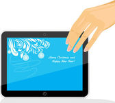 Female hand holding tablet pc with Christmas screen saver — Stock Vector
