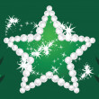 Shining star and Christmas trees on the dark green background — Imagens vectoriais em stock