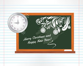 Chalkboard on the notebook page. Christmas school holidays — Stockvector
