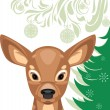 Fawn and Christmas tree — Stock Vector