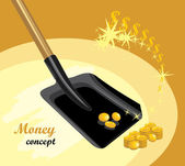 Shovel with golden coins. Money concept — Stock Vector