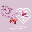 Stylish heart with butterflies. Background to Valentines day — Stock Vector #38406841