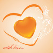 Shining golden heart. Background to the Valentines day — Stock Vector