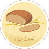 Rye bread and wheat ears. Label — Stock Vector