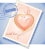 Post stamp to the Valentines day — Stock Vector