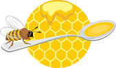 Honeybee on the spoon. Icon for design — Vettoriale Stock