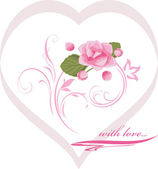 Heart with pink flower. Decorative element to the Valentines day — ストックベクタ
