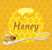 Honeybee on the spoon. Label for design — Vettoriale Stock