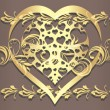 Ornamental golden border with shining heart — Stock Vector
