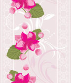Ornamental background with white lace and pink flowers — Vector de stock