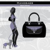 Stylish handbags. Silhouette of elegant woman with little dog — Stock Vector