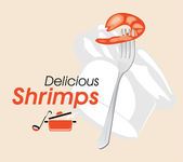 Delicious shrimps. Icon for a cooking design — Stock Vector