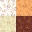 Seamless leafy background. Four patterns — Stockvector
