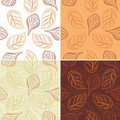 Seamless leafy background. Four patterns — Stock Vector