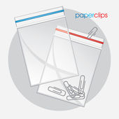 Paperclips in plastic bag — Stock Vector
